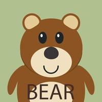 Cute brown bear cartoon flat icon avatar