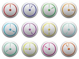 Clock symbol set color on grey isolated