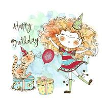 Birthday card with a cute red-haired girl and a cute cat vector