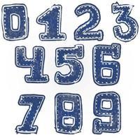 Written numbers 0-9 hand drawn sketch denim style vector