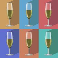 Glasses of champagne set on metal stand