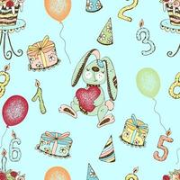 Seamless pattern with a cute birthday bunny and gifts