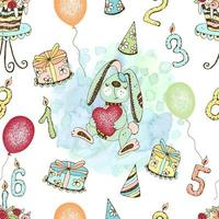 Seamless pattern with a cute birthday bunny