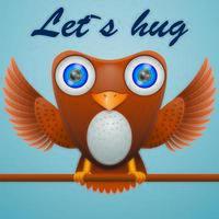 Cartoon owl on stick with text lets hug