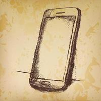 Hand drawn sketch of mobile phone with shadow