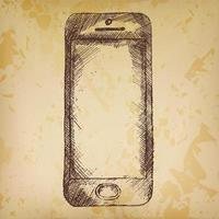 Hand drawn sketch of mobile phone front