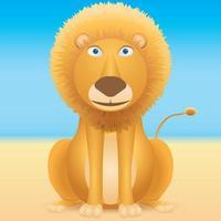 Cartoon lion sitting on blue background
