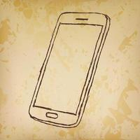 Hand drawn sketch of mobile phone outlined