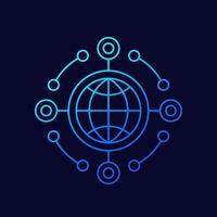 icono de línea de api de red vector