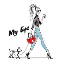 chica de moda camina con un perro pequeño. gráficos con estilo.
