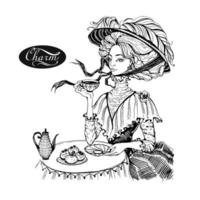 Beautiful vintage lady. Girl in a hat drinking tea. Charm. vector