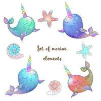 Set of fabulous whales unicorns. vector