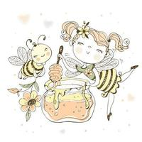 Flower fairy with a pot of honey and a cheerful bee. vector
