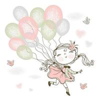 A little cute girl is flying on balloons.