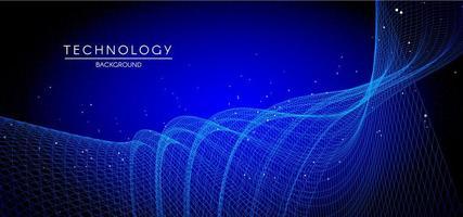 líneas de partículas de tecnología fondo azul abstracto vector