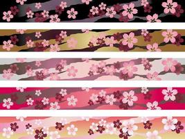 Set Of Seamless Japanese Traditional Pattern In Five Colors. vector