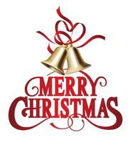 Merry Christmas Decorative Lettering With Swash And Christmas Bells vector