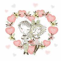 niña y niño enamorados en corazón de flores