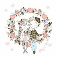 Girl and boy in love sit in aflower arch