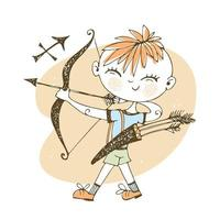 Children's zodiac. Sagittarius sign. Boy with a bow