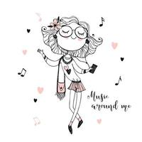 linda chica adolescente de moda escuchando música