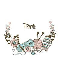 Frame wreath on the theme of knitting