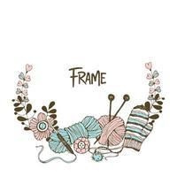 corona de marco sobre el tema de tejer
