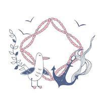 lindo marco de temática marina con una linda gaviota divertida y un ancla