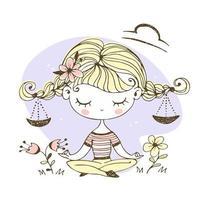 Libra zodiac sign. Cute girl in the lotus position. vector