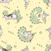 Seamless pattern with dinosaurs and small children. vector
