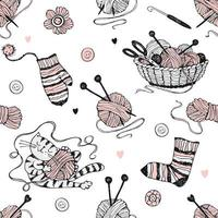 Seamless pattern on the theme of knitting