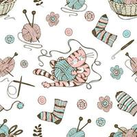 Seamless pattern on the theme of knitting.