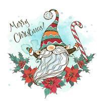 tarjeta de navidad con un lindo gnomo nórdico vector