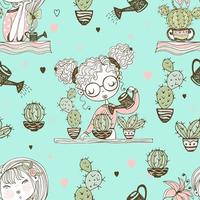 Seamless pattern with cute girls who grow cacti.
