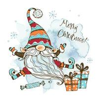 Christmas card with cute Nordic gnome with gifts.