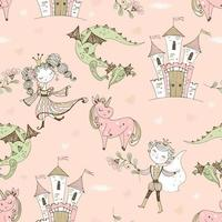 Seamless pattern fairyland with princesses and princes vector