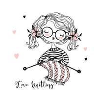 linda chica teje una bufanda en sus agujas de tejer. vector
