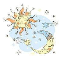 Sun and moon doodle style for children's theme. vector