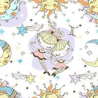 A fun seamless pattern for kids. Zodiac Gemini. vector