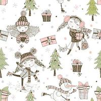 Seamless Christmas pattern with gifts and Christmas tree. vector