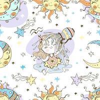 Fun seamless pattern for kids. Aquarius Zodiac Sign. vector