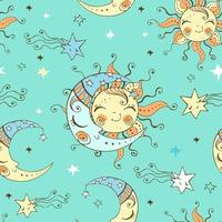 Cute sun and moon in the starry sky. vector