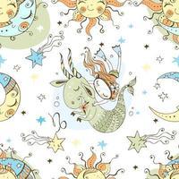 A fun seamless patterns for kids. Zodiac Capricorn.