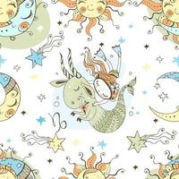 A fun seamless patterns for kids. Zodiac Capricorn. vector