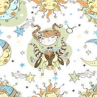 A fun seamless pattern for kids. Zodiac Taurus. vector