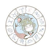 Children's zodiac. The zodiac sign Pisces. Cute mermaid