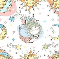 A fun seamless pattern for kids. Zodiac Pisces.