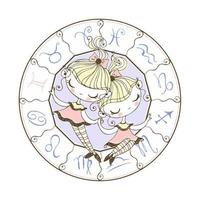 Zodiac sign Gemini. Children's horoscope vector