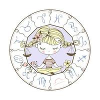 Libra zodiac sign. Cute girl in the lotus position.