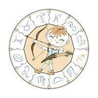 Children's zodiac. Sagittarius sign. Boy with a bow vector